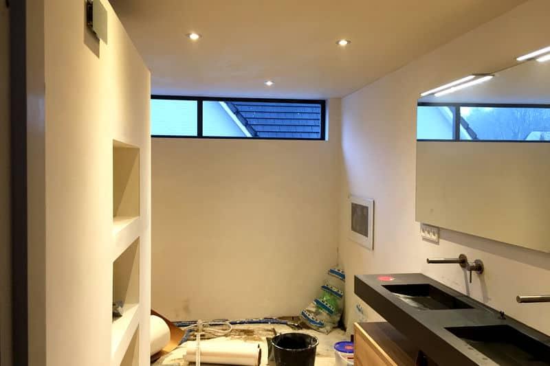 Binnenzijde dakkapel afwerking voor badkamer