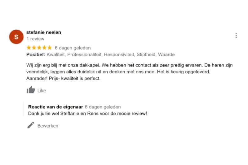 Goede Review 5 sterren Dakkapel Tilburg