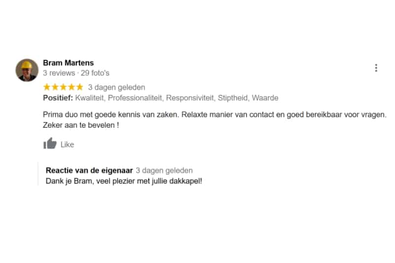 Goede review 5 sterren Dakkapel Breda