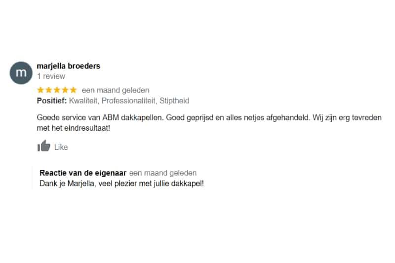 Goede review Dakkapel Oisterwijk